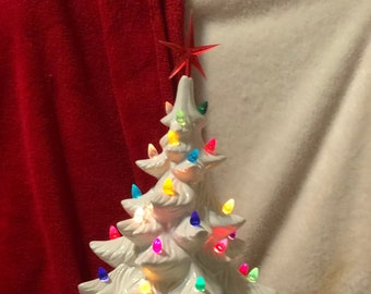 Atlantic Molds Milk Glass Glazed Ceramic Christmas Tree with multicolor lights, red star and base