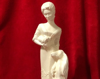 Doc Hollidays Ladies of the Titanic Glazed Ceramic Lady with Wolf Hound and pup