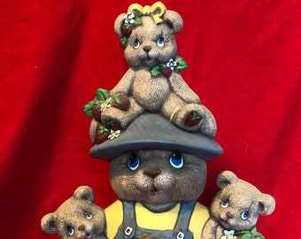 Clay Magic's Dry Brushed Ceramic Male Strawberry Bear