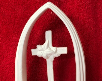 Dogwood Cross under Arch in ceramic bisque ready to paint