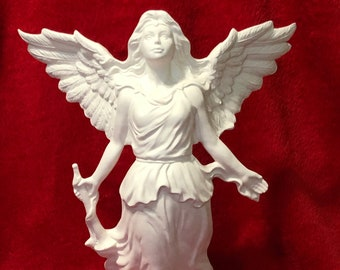 Rare Windblown Angel with Trumpet in ceramic bisque ready to paint