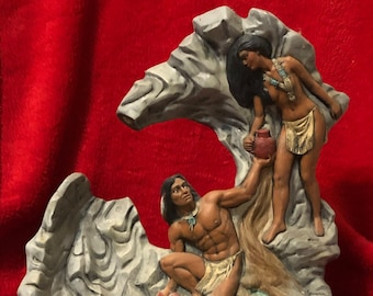 Dry Brushed Ceramic Native American Scene water fountain