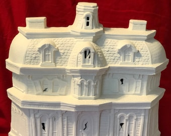 Vintage and Rare Byron Molds Haunted House with cut outs and base for lights in ceramic bisque ready to paint by jmdceramicsart