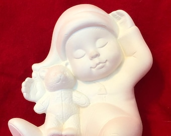 Dona's Sweet Tots Christmas Boy with Teddy Bear in bisque ready to paint