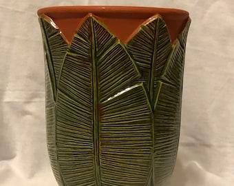 Vintage Glazed Ceramic Palm Leaf Vase