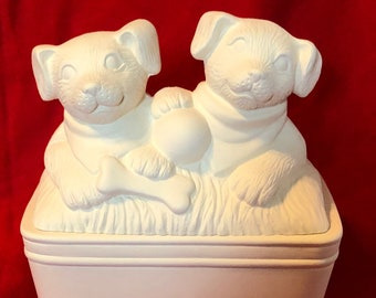 Ceramic Clay Magic's Doggies in a Tub in ceramic bisque ready to paint