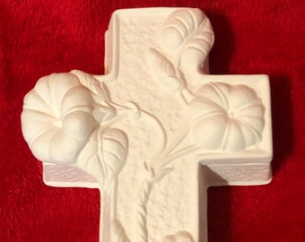 Vintage Ceramic Cross Trinket Box in bisque ready to paint
