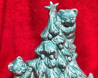 Jade Glazed Ceramic Christmas Tree with Bears