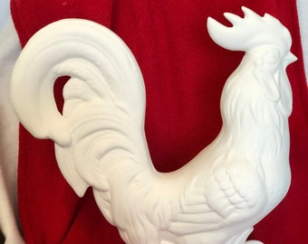 Large Rooster in ceramic bisque ready to paint