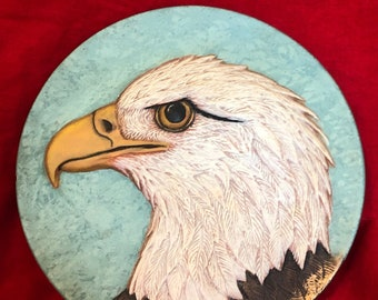 Dry Brushed ceramic Eagle plate wall hanging