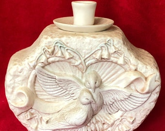 Antique Glazed Ceramic Urn/Candle Holder