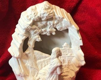 Ceramic 2 Piece Set of Jesus praying in the Garden antiqued
