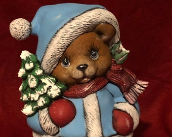 Clay Magic's Ceramic Male Christmas Bear Dry Brushed using Mayco Softee Stains