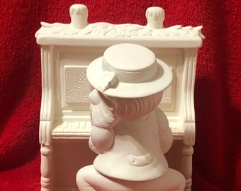 Very Rare 2 Piece Set of a Christmas Elf Playing the Christmas Piano in ceramic bisque ready to paint