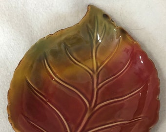 Rare Vintage Glazed Leaf Tray