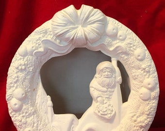 Gare Molds Santa Wreath in ceramic bisque ready to paint by jmdceramicsart bisque pic coming soon