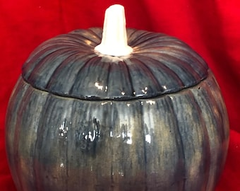 Vintage Twilight Blue Glazed Ceramic Pumpkin Candy Dish with a white snow stem by jmdceramicsart