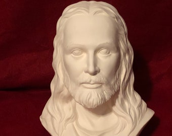From 1983 Provincial Mold, Bust of Jesus Christ in ceramic bisque ready to paint