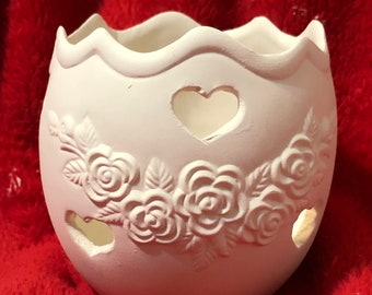 Ceramic Vintage Floral Votive Holder in bisque ready to paint