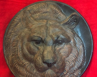Dry Brushed ceramic Bear plate wall hanging