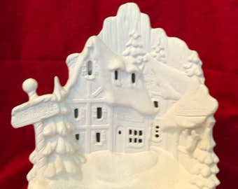Rare Ceramic 2 piece set Snowman Village with cut outs for light in bisque ready to paint by jmdceramicsart