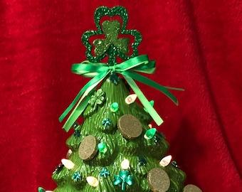 Saint Patricks Day Glazed Ceramic Mantle Tree
