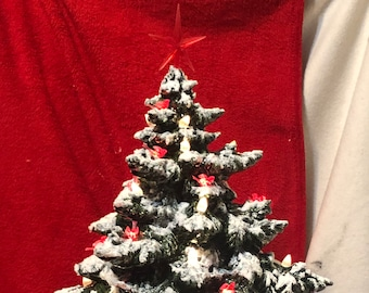 Luster Green Glazed Frazier Fir with snow, clear lights, red birds, red star and base from jmdceramicsart
