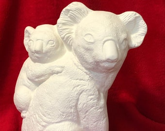 Ceramic Mother and Baby Koala Bears in bisque ready to paint