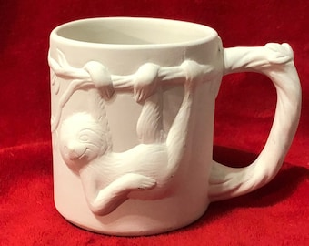 Sloth Mug in ceramic bisque ready to paint