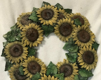 Dry Brushed Ceramic Sunflower Wreath by Scioto Molds