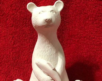 Campfire Bear in ceramic bisque ready to paint