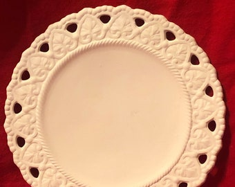Very Rare Vintage Decorative Ceramic Heart Saucer in bisque ready to paint by jmdceramicsart
