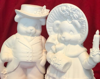 Clay Magic's Ceramic Mama and Papa Caroling Bears in bisque ready to paint by jmdceramicsart