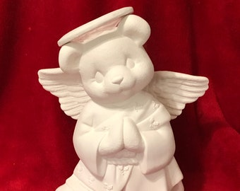 Clay Magic's Male Angel Bear in ceramic bisque ready to paint