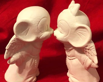 Set of 2 Ceramic Angel Mice Kissing in bisque ready to paint