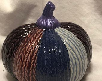 Glazed Ceramic Knitted Pumpkin with metallic purple stem by jmdceramicsart