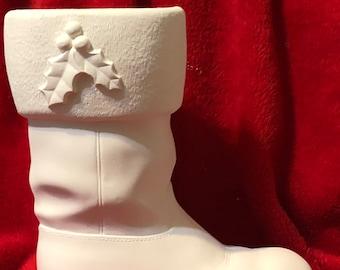 Santa Boot in Ceramic Bisque