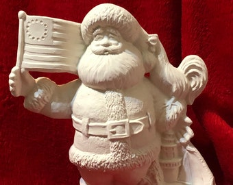 Ceramic Gare Delaware Santa in bisque ready to paint