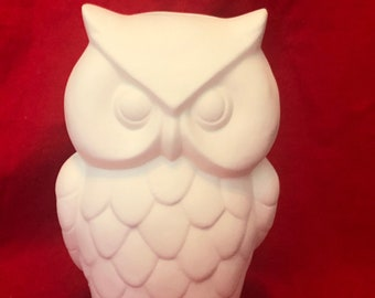 Ceramic Owl piggy bank in bisque ready to paint