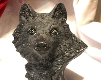 Flat Black Lapis Glazed Ceramic Wolf Bust