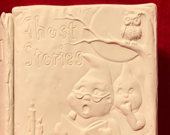 Vintage Ceramic Ghost Stories Book Box in bisque ready to paint by jmdceramicsart