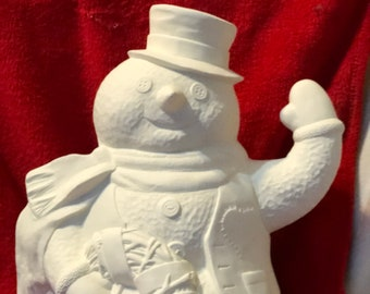 Rare Doc Hollidays Ceramic Snowman in bisque ready to paint