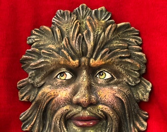 Green Man Mask Wall Hanging Ceramic Art