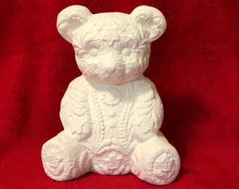 Ceramic Lace Teddy Bear in bisque ready to paint