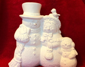 Snow Family in ceramic bisque ready to paint