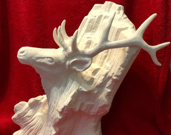 Ceramic Driftwood Elk in bisque ready to paint