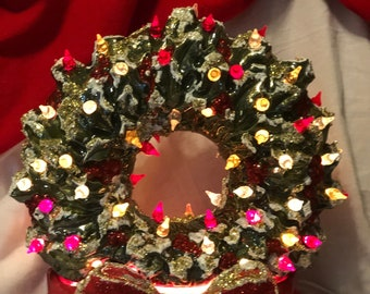 Evergreen Glazed Ceramic Wreath with Red Bow Base