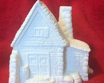 Ceramic Log Cabin with holes for light in bisque ready to paint