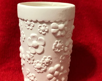 One of a kind Flower Cup in ceramic bisque ready to paint