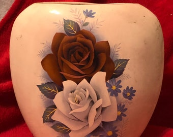 Beautiful Vintage Glazed Ceramic Pillow Vase with floral decals